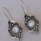 Oriental white moon earrings