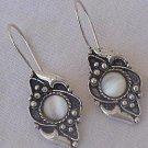 Oriental white moon earrings