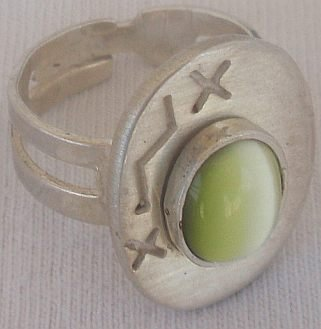 Green  light cat eye silver ring