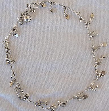 Mini hearts silver anklet