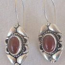 Red oriental silver earrings