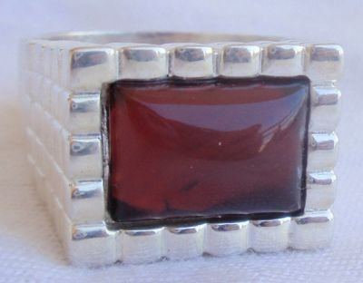Red agate ring for man