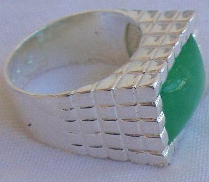 Green agate ring-men