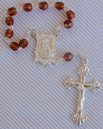 Mini Rosary brown glass beads