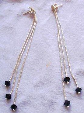 Silver strips earrings