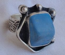 Turquoise pressed silver ring F