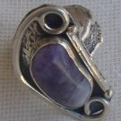 Purple glass silver ring SL 819