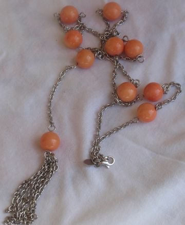 Silver orange necklace