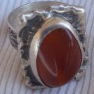 Red glass silver ring