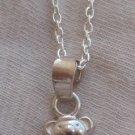 Mini teddy bear silver pendant
