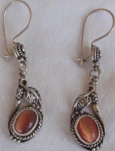 Brown cat eye  mini dangling  earrings