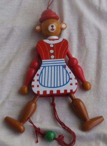 Cooking bear  wood doll