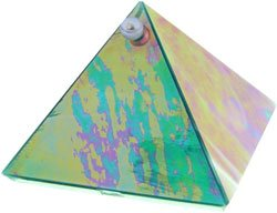 Emerald Glass Wishing Pyramid - 2 inch - metaphysical