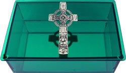 Green Glass Celtic Cross Tarot Box - Metaphysical