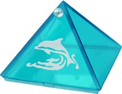 Dolphin Aquamarine Etched Glass Pyramid  4 inches Metaphysical