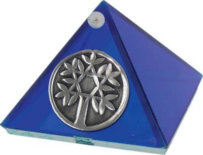 Cobalt Blue Glass Pyramid  with Tree of Life 2 inches Metaphysical