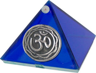 Cobalt Blue Glass Pyramid  with Om symbol 2 inches Metaphysical
