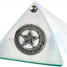 White Iridescent with Celtic Pentacle Glass Wishing Pyramid - 2 inch - metaphysical