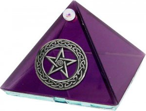 Violet Celtic Pentacle Glass Wishing Pyramid - 2 inch - metaphysical