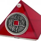 Ruby Chinese Coin Glass Wishing Pyramid - 2 inch - metaphysical