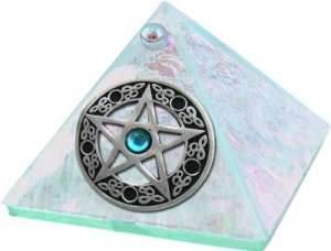Crystal Pentacle with Stone Glass Wishing Pyramid - 2 inch - metaphysical