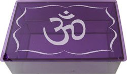 Violet Etched OM Glass Tarot Box - Metaphysical