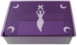 Violet Three Moon Goddess Etched Glass Tarot Box -  Metaphysical
