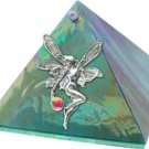 Emerald Iridescent with Fairy Glass Wishing Pyramid - 4 inch - metaphysical