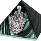 Black Fatima Hand Glass Wishing Pyramid - 2 inch - metaphysical