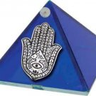 Cobalt Blue Fatima Hand Glass Wishing Pyramid - 2 inch - metaphysical