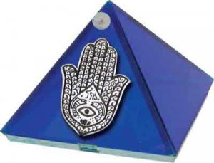 Cobalt Blue Fatima Hand Glass Wishing Pyramid - 2 inch - metaphysical