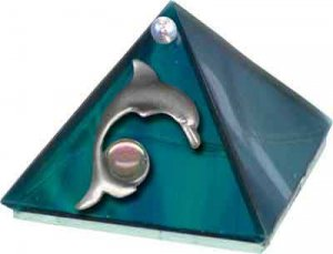 Ocean Dolphin Glass Wishing Pyramid - 2 inch - metaphysical