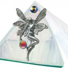 White Fairy with Crystal Glass Wishing Pyramid - 2 inches - Metaphysical