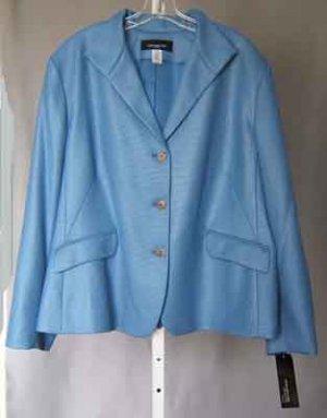 Jones New York NY Lined Blazer Jacket Blue Plus Size 24W