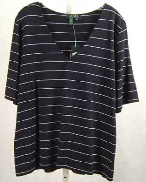 Ralph Lauren Navy/White V Neck Top Plus Size 2X