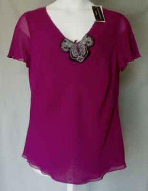 $290 Dana Buchman Silk Beaded Top Blouse Plus Size 14W