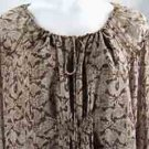 Michael Kors 100% Silk Tie Top Blouse Lt Dark Putty 3X