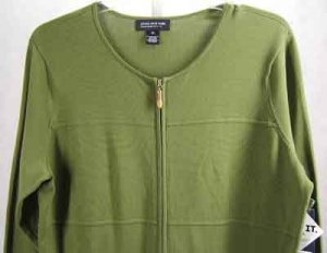 Jones NY Cardigan Sweater Top Green Plus Size 1X
