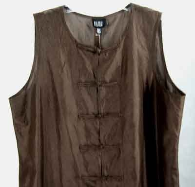$178 Eileen Fisher Silk Crinkle Duster Top Cocoa L