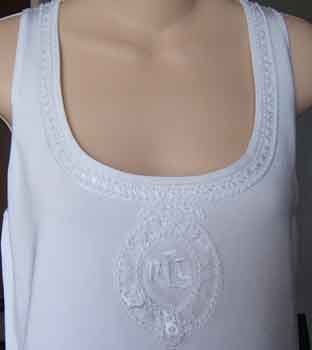 Ralph Lauren Beaded Crested White Tank Top Size L