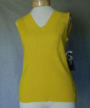 Jones NY Signature Yellow Cotton Knit Stretch Top L