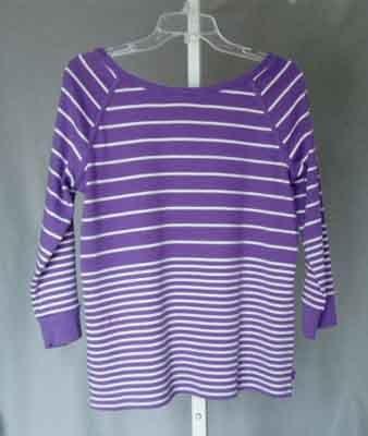 Jones NY Signature Violet White Striped Top Size XL