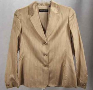 $400 Dana Buchman Silk/Linen Blazer/Jacket Gold Multi Size 8