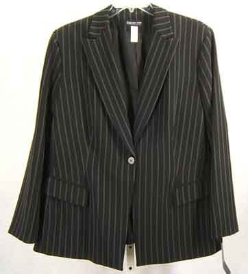 Jones NY Collection Blazer Jacket Black Pinstripe Plus Size 22W