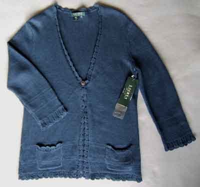 Ralph Lauren Linen Cardigan Sweater Indigo Blue Size PM