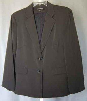 Anne Klein NY Black Label Brown Blazer Jacket Plus Size 18W