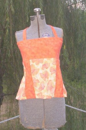 Orange Butterflies Apron Top