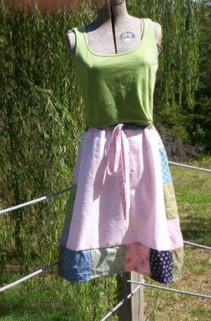 Spring Pink Short Patchwork Skirt