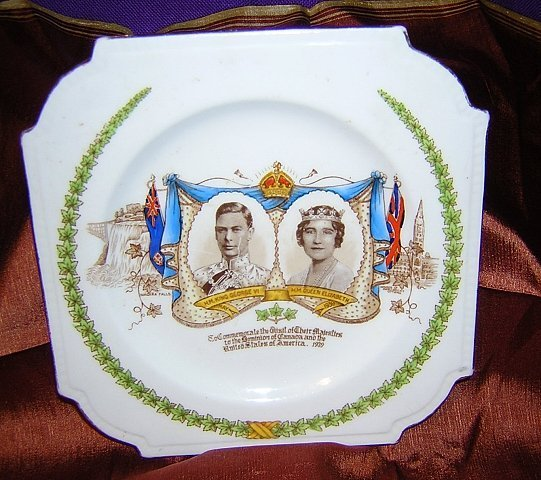Plate 1939 King George VI royal visit Canada US Aynsley bone china  vintage 1010vf