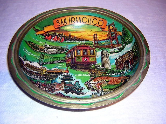 San Francisco sights tin bowl printed souvenir vintage 1012vf